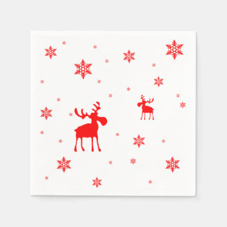 Red Moose and Red Snowflakes - Paper Napkin