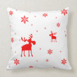 Red Moose and Red Snowflakes - Pillow