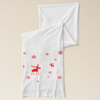Red Moose and Red Snowflakes - Scarf