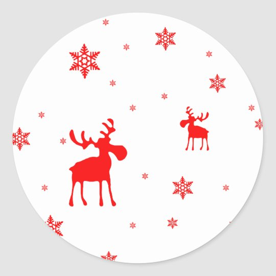Red Moose and Red Snowflakes - Sticker