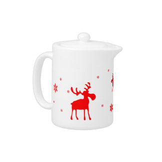 Red Moose and Red Snowflakes - Teapot