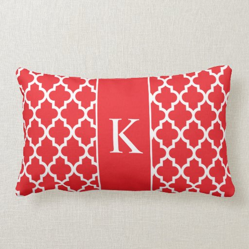 Red Moroccan Custom Monogram Pillow