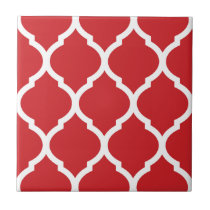 Red Moroccan Quatrefoil Patterned Ceramic Tile