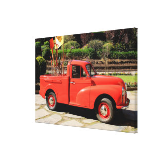 Red Morris Minor Pick Up Truck Canvas Print