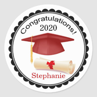 Red Mortar, diploma Your name Graduation Sticker