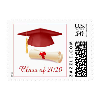 Red Mortar hat and diploma Graduation Postage