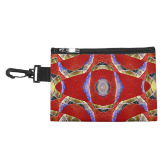 Red mosaic abstract accessory bags
