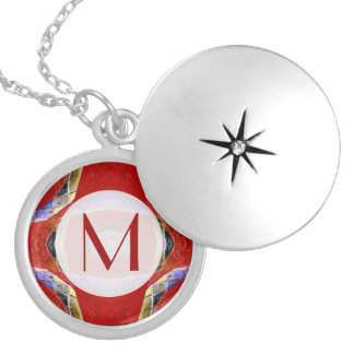 Red mosaic abstract round locket necklace