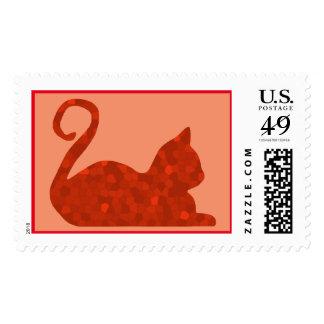 Red Mosaic Cat Custom Postage