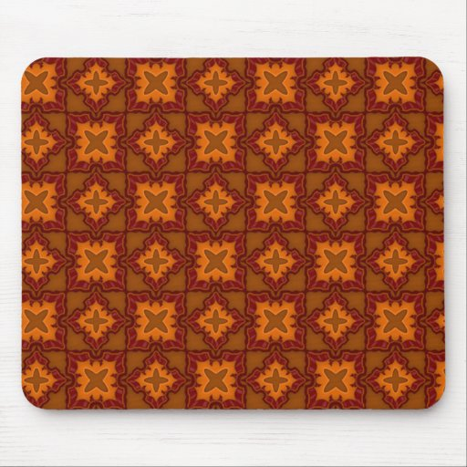 Red Mosaic Fire Tiles Mouse Pad