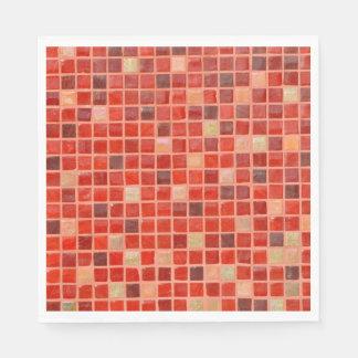 Red Mosaic Tile Background Napkin