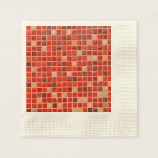 Red Mosaic Tile Background Paper Napkin