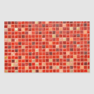 Red Mosaic Tile Background Rectangular Sticker