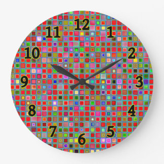 Red, Moss Green And Blue 'Clay' Tiles Pattern Large Clock