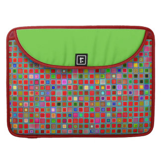 Red, Moss Green And Blue 'Clay' Tiles Pattern MacBook Pro Sleeve