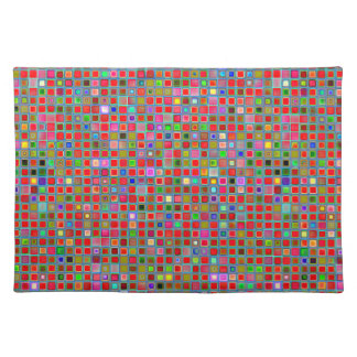 Red, Moss Green And Blue 'Clay' Tiles Pattern Placemats