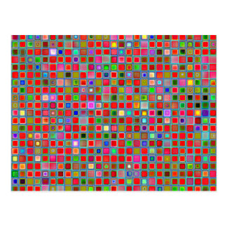 Red, Moss Green And Blue 'Clay' Tiles Pattern Postcard