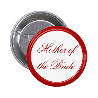 Red Mother of the Bride Wedding Pin