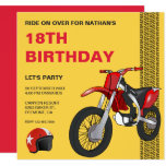 Hand shaped Red Motocross Bike Birthday Party Invitation