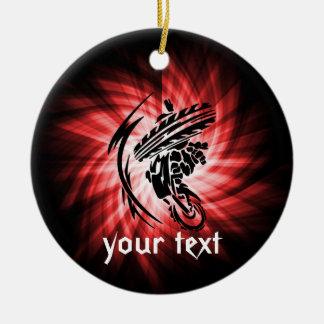Red Motocross Ceramic Ornament