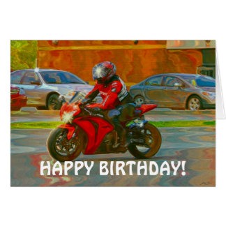 Red Motorcycle Bike-lover Birthday Card