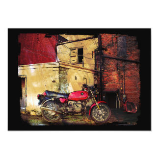 """Red Motorcycle in Urban Decay 5"""" X 7"""" Invitation Card"""