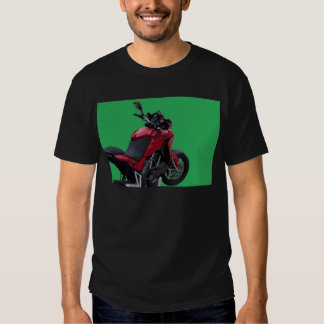 red motorcycle on the green background shirt