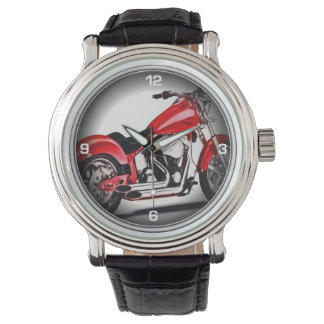 Red motorcycle wrist watch