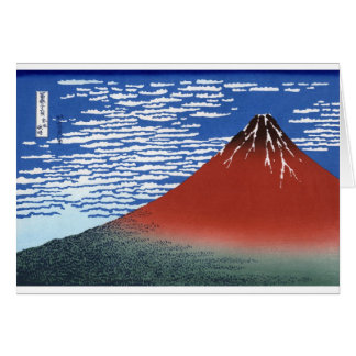 Red Mount Fuji Vintage Japanese Print Card