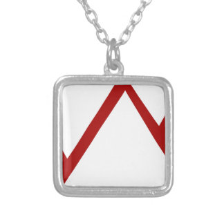 Red Mountain Range Icon Square Pendant Necklace