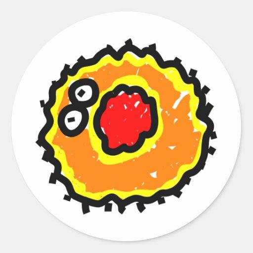 Red Mouth Cartoon Germ Round Stickers