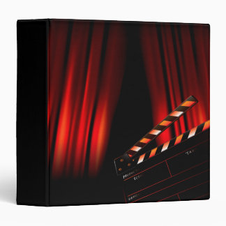 Red Movie Curtain Clapboard Director 3 Ring Binder