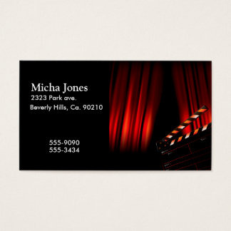 Red Movie Curtain Clapboard Director Business Card