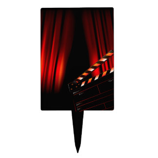 Red Movie Curtain Clapboard Director Cake Topper