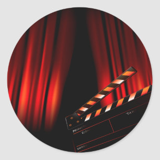 Red Movie Curtain Clapboard Director Classic Round Sticker