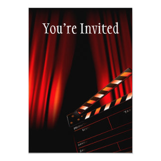 Red Movie Curtain Clapboard Director 5x7 Paper Invitation Card