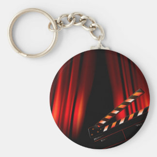 Red Movie Curtain Clapboard Director Keychain