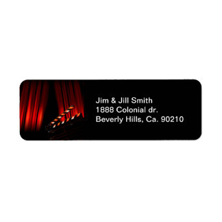 Red Movie Curtain Clapboard Director Label