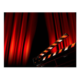 Red Movie Curtain Clapboard Director Postcard