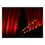 Red Movie Curtain Clapboard Director Poster