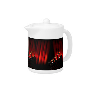 Red Movie Curtain Clapboard Director Teapot