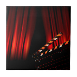 Red Movie Curtain Clapboard Director Small Square Tile