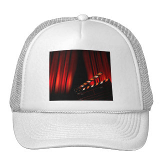 Red Movie Curtain Clapboard Director Trucker Hat