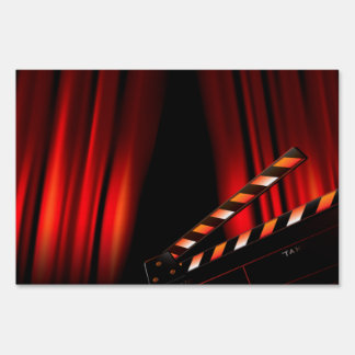Red Movie Curtain Clapboard Director Yard Sign
