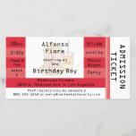 """Red Movie Night Party Admission Ticket Invite<br><div class=""""desc"""">This design features a simulated admission ticket of red and white. There is a muted graphic of popcorn, soda and a chocolate bar in the center, along with lots of customizable text for you to add your party information. Featured here as a movie night themed birthday party invitation, this versatile...</div>"""