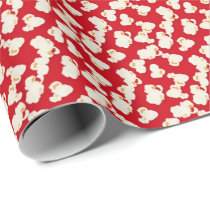 Red movie popcorn pattern wrapping paper