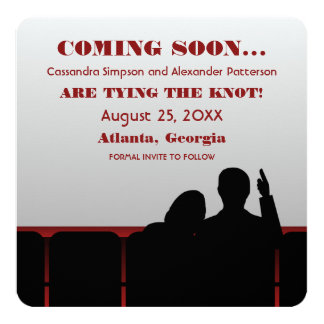 Red Movie Theater Save the Date Card