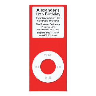 Red MP3 Player iParty Birthday Party Card