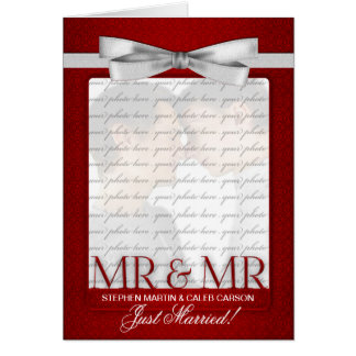 Red Mr. & Mr. Gay Wedding Reception Invitation Greeting Card