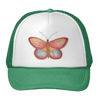 Red Multicolor Butterfly hat cap
